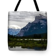 Mount Rundle And Vermilion Lake Tote Bag