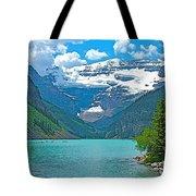 Mount Victoria Rises Above Lake Louise In Banff Np-alberta Tote Bag