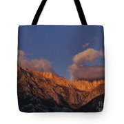 Mount Whitney In Clouds Alabama Hills Eastern Sierras California  Tote Bag