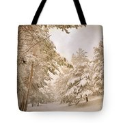 Mountain Adventure In The Snow Tote Bag