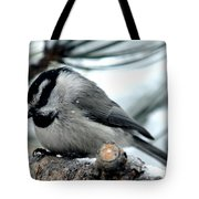 Mountain Chickadee During A Light Snow Tote Bag