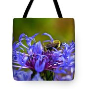 Mountain Cornflower and Bumble Bee Tote Bag by Byron Varvarigos