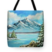 Mountain Lake In Winter Original Painting Forsale Tote Bag