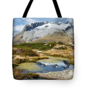 Mountain Landscape Water Reflection Swiss Alps Tote Bag