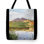 Mountain Landscape With Egret Tote Bag