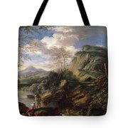 Mountain Landscape With Figures Tote Bag