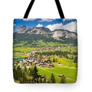 Mountain Landscape With Village In The Allgaeu Alps Austria Tote Bag