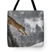Mountain Lion - Silent Escape Tote Bag by Wildlife Fine Art