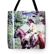 Mountain Man On A Horse Tote Bag