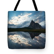 Mountain Peak And Clouds Reflected In Alpine Lake In The Dolomit Tote Bag