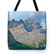 Mountain Peaks From Bow Summit Along Icefield Parkway In Alberta Tote Bag