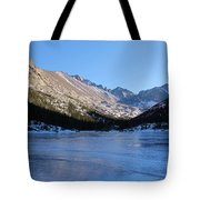 Mountain Reflection On Frozen Lake Tote Bag