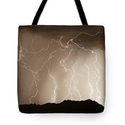 Mountain Storm - Sepia Print Tote Bag
