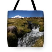 Mountain Stream And Guallatiri Volcano Tote Bag