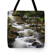 Mountain Stream With Scripture Tote Bag