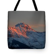 Mountain Sunset In Switzerland Tote Bag