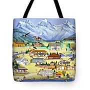 Mountain Town Of Canmore Tote Bag