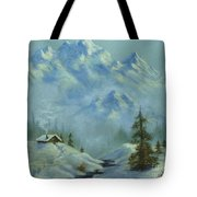 Mountain View With Creek Tote Bag