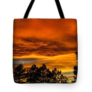 Mountain Wave Cloud Sunset With Pines Tote Bag