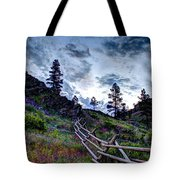 Mountain Wooden Fence  Tote Bag