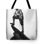 Mountaineer Takes A Break Tote Bag by Underwood Archives