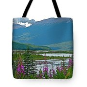 Mountains And Fireweed Along North Sascatchewan River Along Icefield Parkway-ab Tote Bag