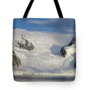 Mountains And Glacier At Sunset Tote Bag