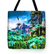 Mountains Hiding Behind Flowers Tote Bag