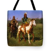 Mounted Indians Carrying Spears Tote Bag