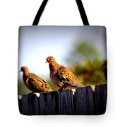 Mourning Doves On Fence Tote Bag