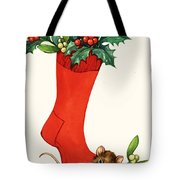 Mouse In A Christmas Sock Tote Bag