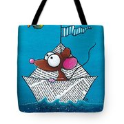 Mouse In His Paper Boat Tote Bag