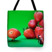 Moving Strawberries To Depict Friction Food Physics Tote Bag