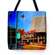 Mpm And Lamp Post Abstract Painting Tote Bag