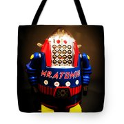 Mr. Atomic Tin Robot Tote Bag by Edward Fielding