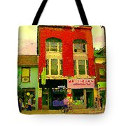 Mr Jordan Mediterranean Food Cafe Cabbagetown Restaurants Toronto Street Scene Paintings C Spandau Tote Bag by Carole Spandau