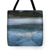 Mt. Abraham And Ice On Abraham Lake Tote Bag