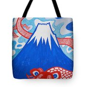Mt. Fuji And A Red Dragon Tote Bag