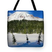 Mt Rainier And Three Trees Tote Bag