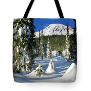 Mt Rainier At Reflection Lakes In Winter Tote Bag
