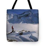 Mt Sefton Climber At Mueller Glacier Tote Bag