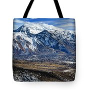 Mt. Timpanogos In Winter From Utah Valley Tote Bag
