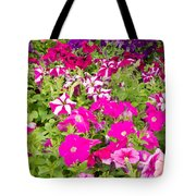 Multi-colored Blooming Petunias Background Tote Bag