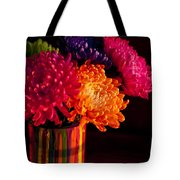 Multicolored Chrysanthemums In Paint Can On Chest Of Drawers Int Tote Bag