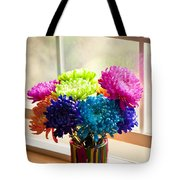 Multicolored Chrysanthemums In Paint Can On Window Sill Tote Bag
