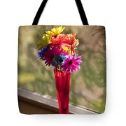 Multicolored Daisies On Window Sill Tote Bag
