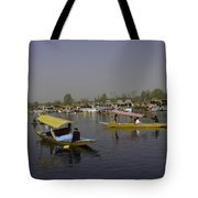 Multiple Number Of Shikaras On The Water Of The Dal Lake In Srinagar Tote Bag