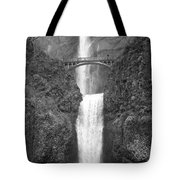 Multnomah Double Falls - Bw Tote Bag