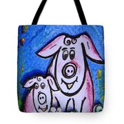Mummy And Baby Pig  Tote Bag