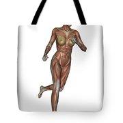 Muscular Woman Running Tote Bag
